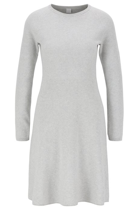 Knitted dress in a cotton blend with silk, Grey