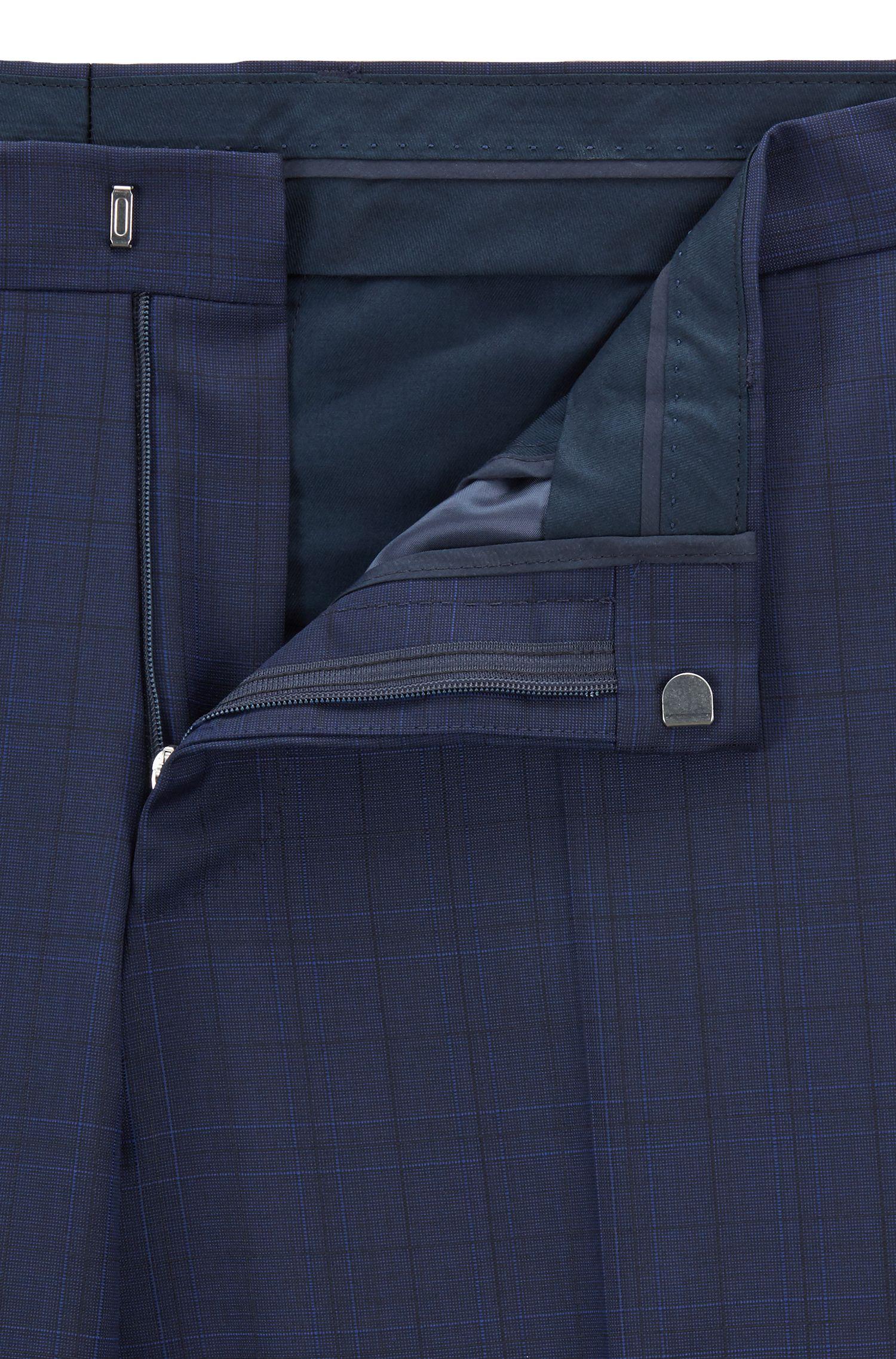 Pantalon Slim Fit en laine vierge à carreaux, Bleu foncé