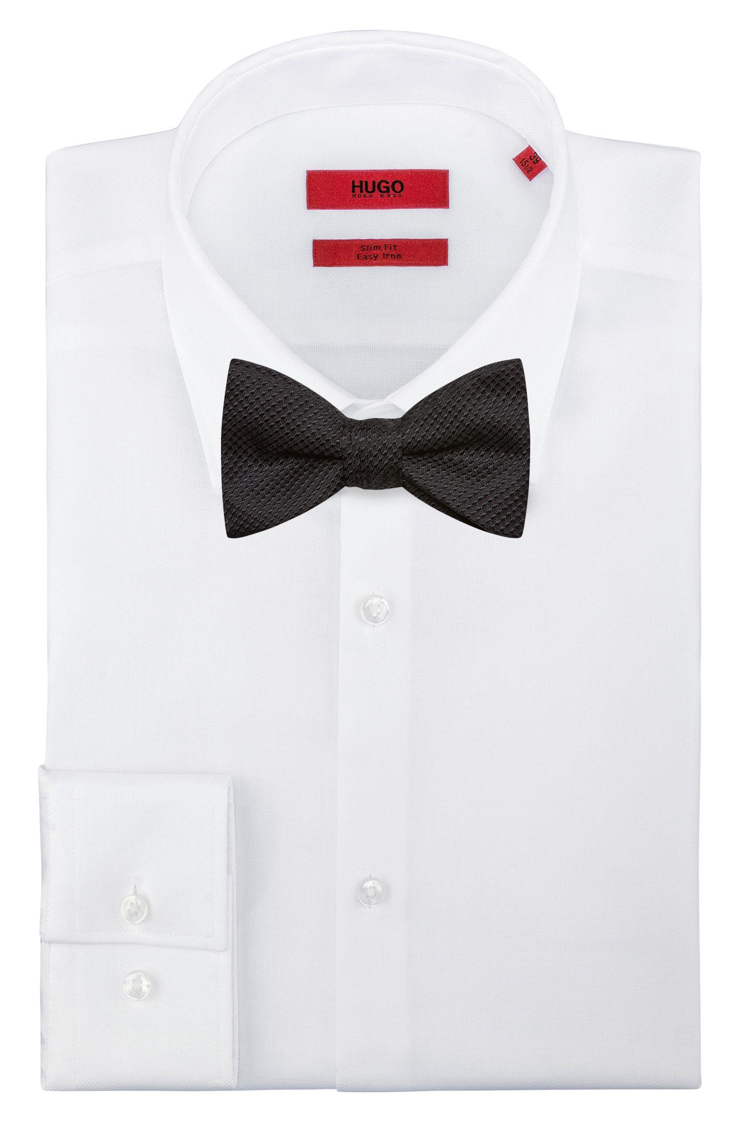Micro-pattern bow tie in silk jacquard, Black