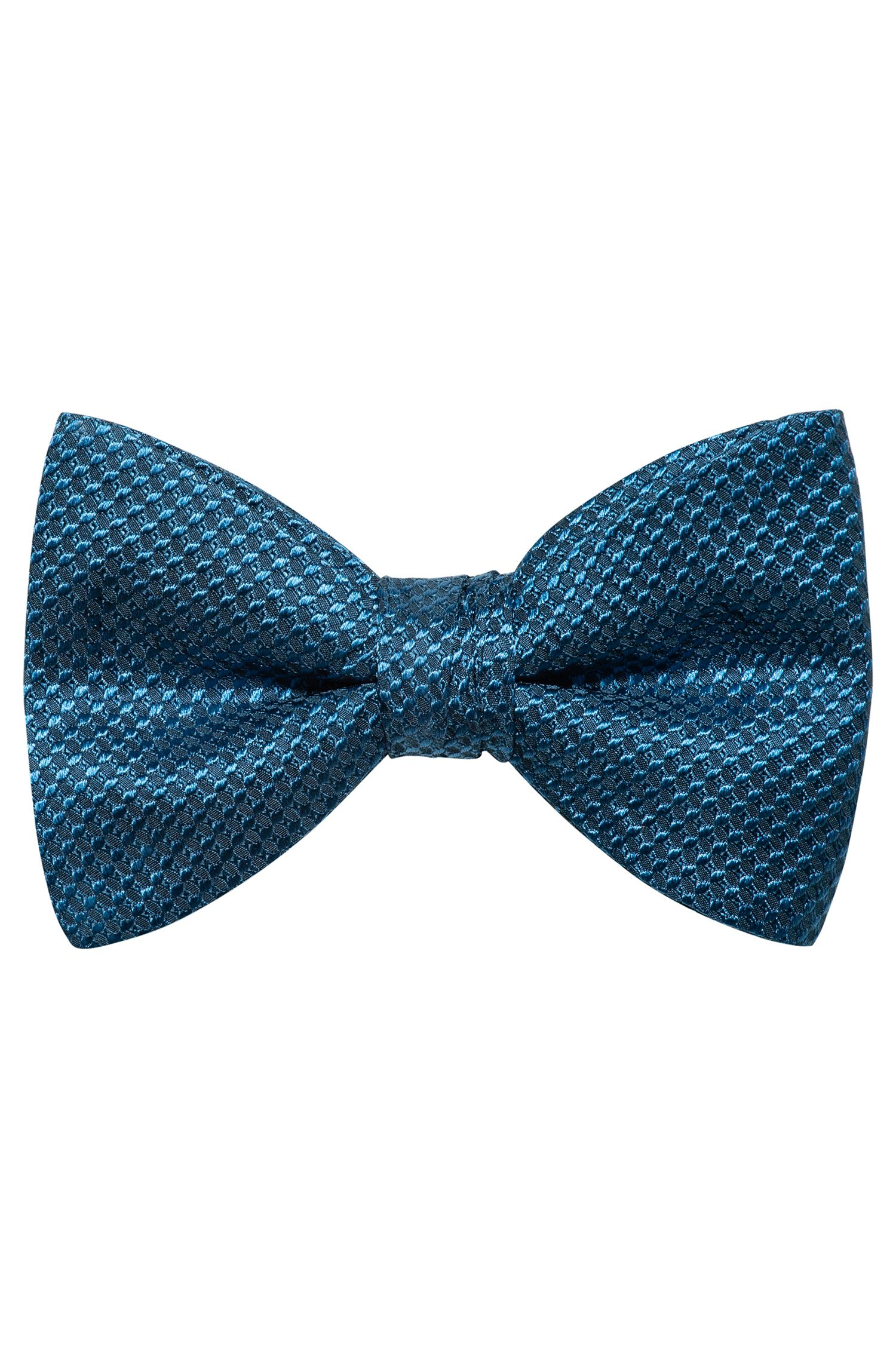 Micro-pattern bow tie in silk jacquard, Blue