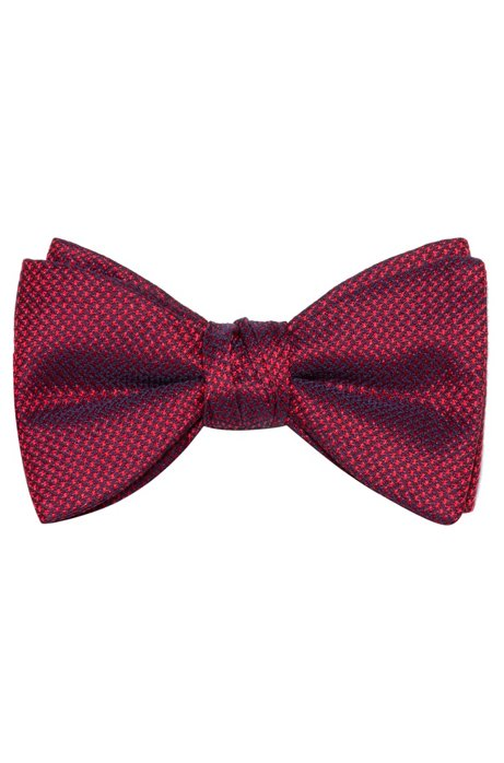 Pre-tied bow tie in micro-patterned silk, Patterned