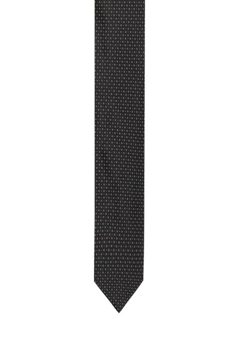 Silk tie with jacquard-woven micro pattern, Patterned
