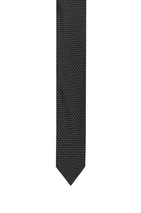 Zijden stropdas met een jacquardgeweven microdessin, Bedrukt