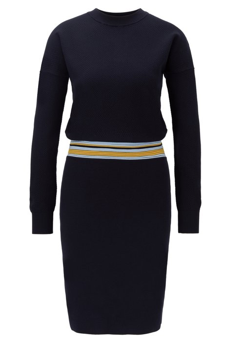 Long-sleeved knitted dress with striped waist, Blue