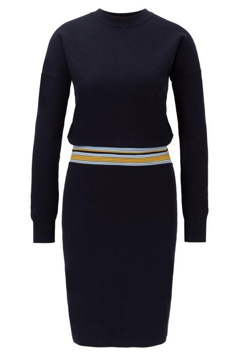 Gebreide jurk met lange mouwen en gestreepte taille, Blauw