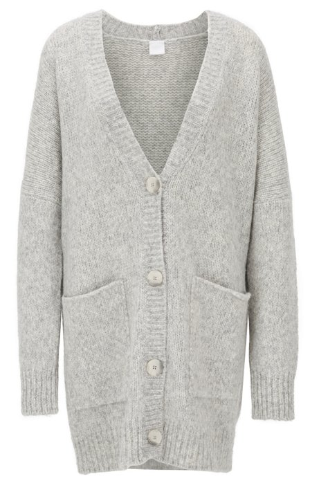 Oversized-fit V-neck cardigan in an alpaca blend, Grey