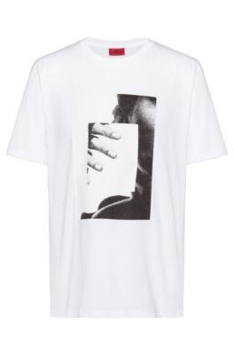 T-shirt van recot²®-katoen met fotoprint, Wit