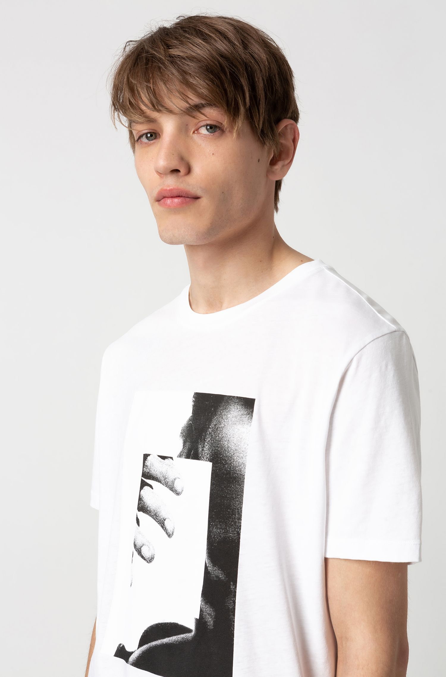 Photo-print T-shirt in recot²® cotton, White