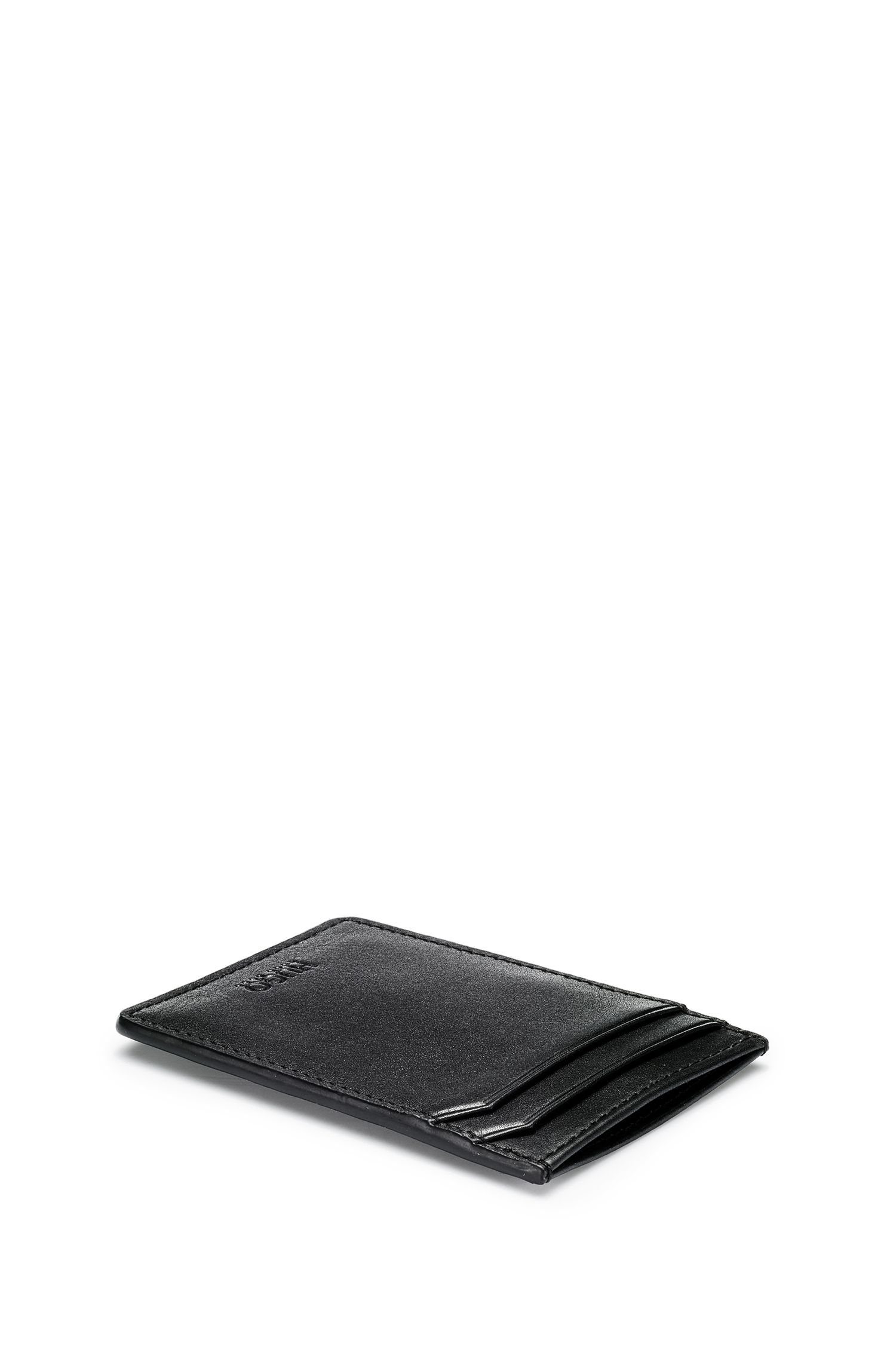 Leather wallet and card holder gift set with bear motif, Black