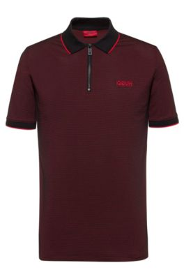 Slim-Fit Poloshirt mit breitem Reißverschluss am Ausschnitt, Gemustert