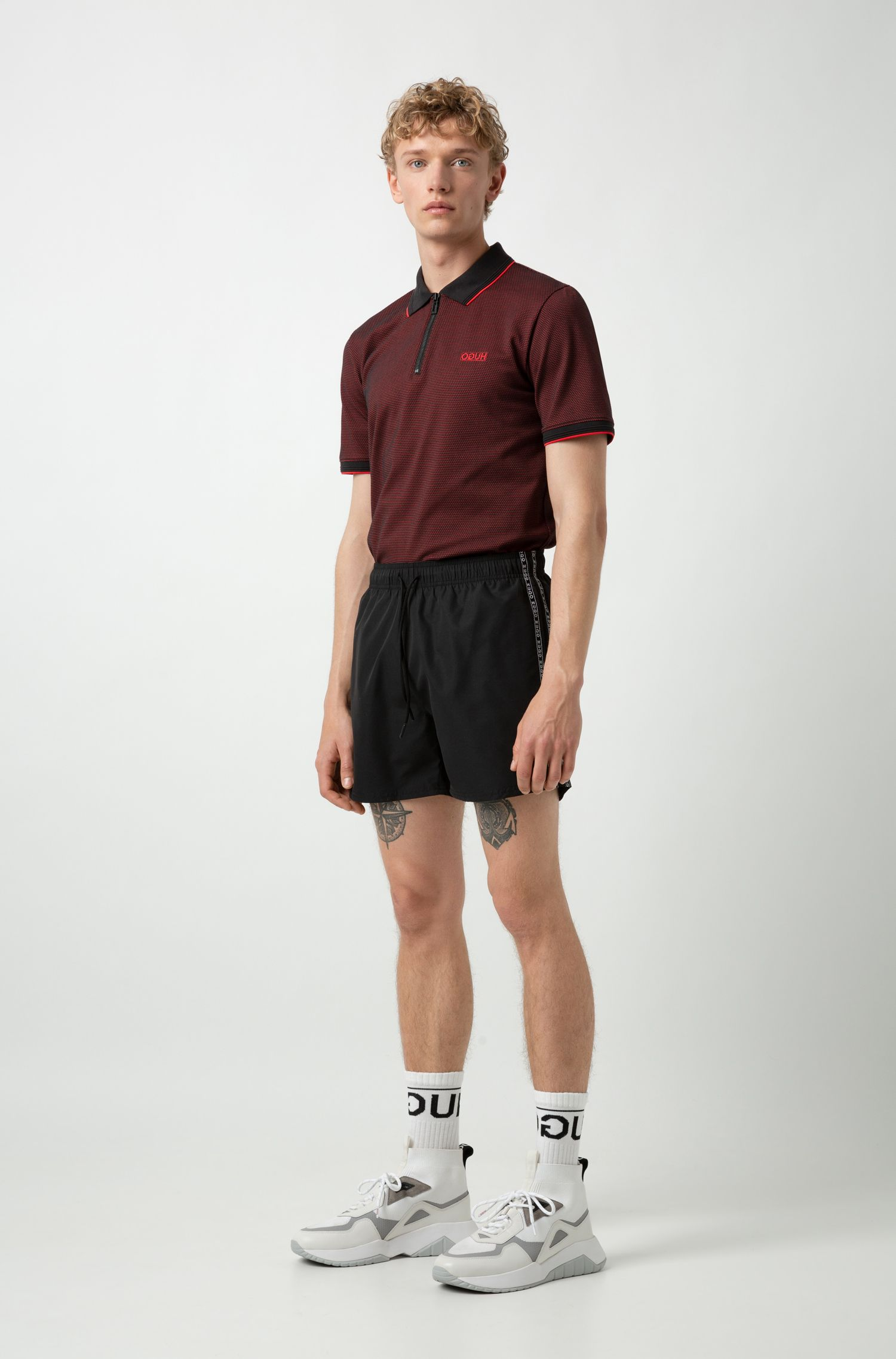 Slim-fit polo shirt with chunky-zip neckline, Patterned