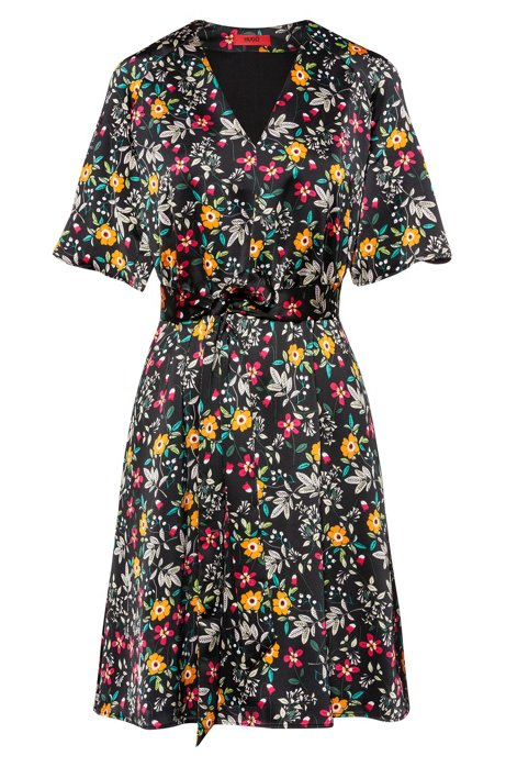 Floral-print V-neck dress with tie belt, Patterned