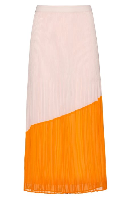 Midi skirt in colourblock plissé with full lining, Orange