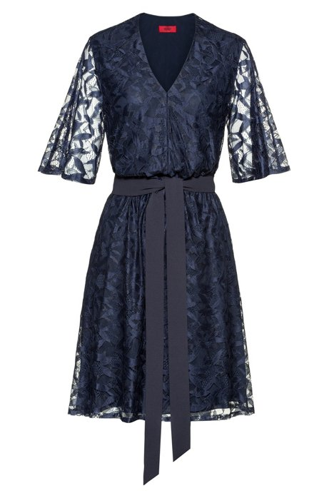 V-neck lace dress with tie belt, Dark Blue