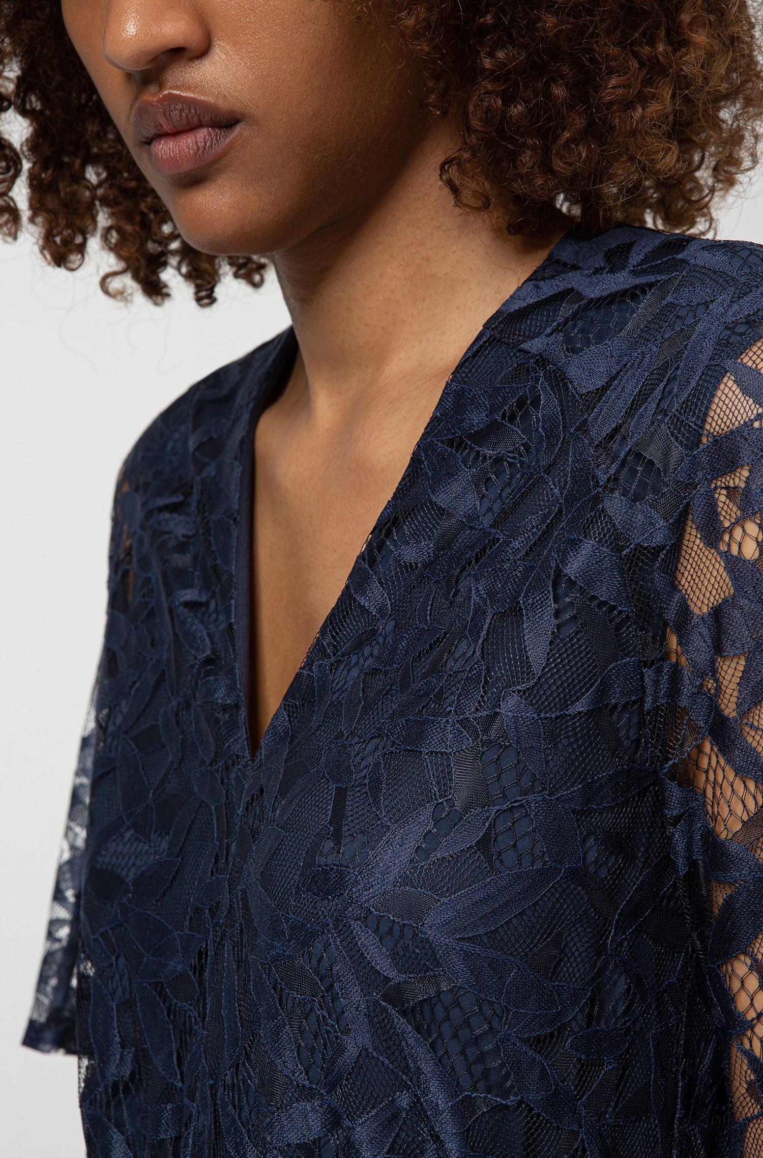 Robe en dentelle à col V avec ceinture à nouer, Bleu foncé