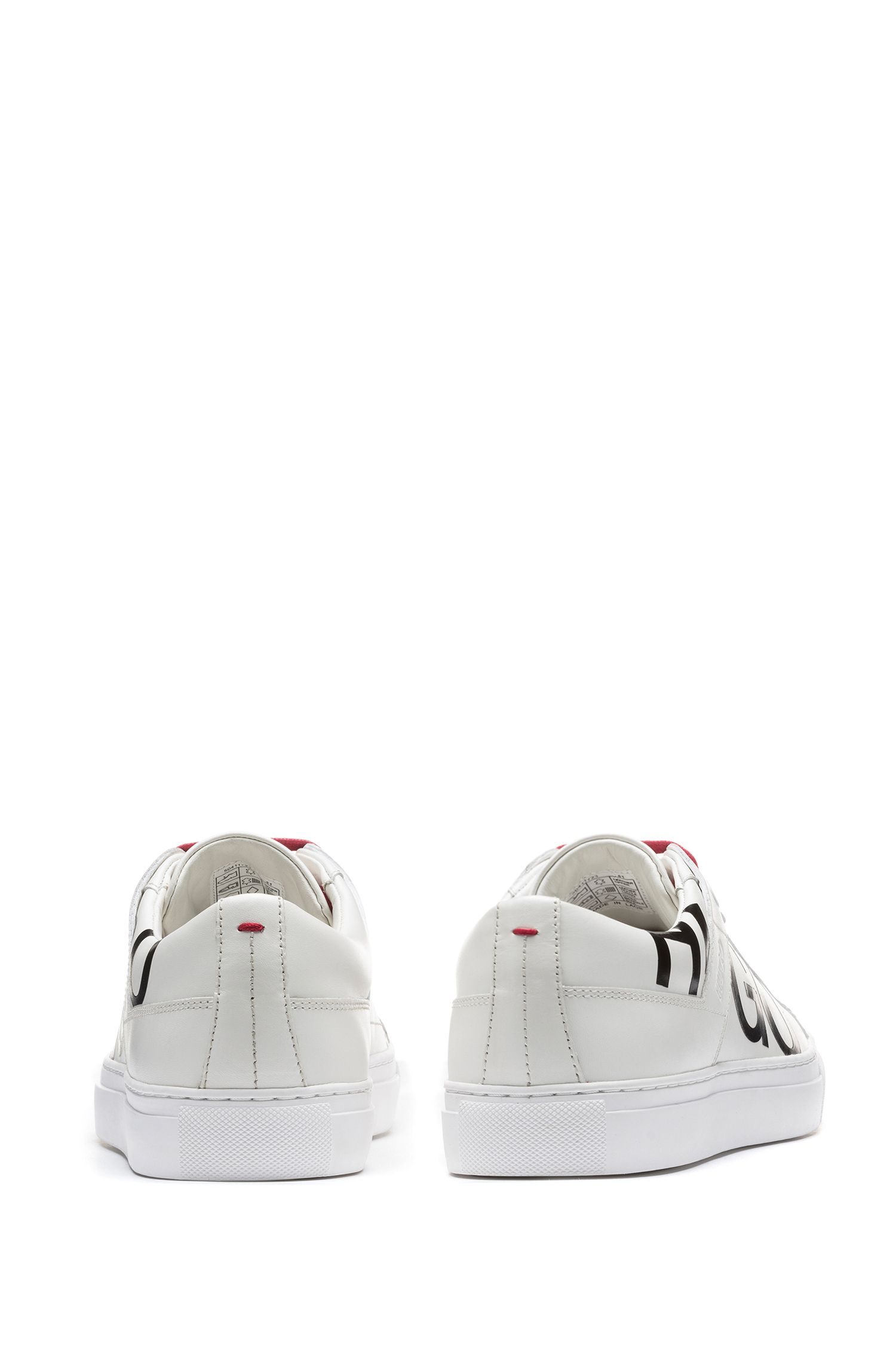 Leather lace-up trainers with logo detail, White