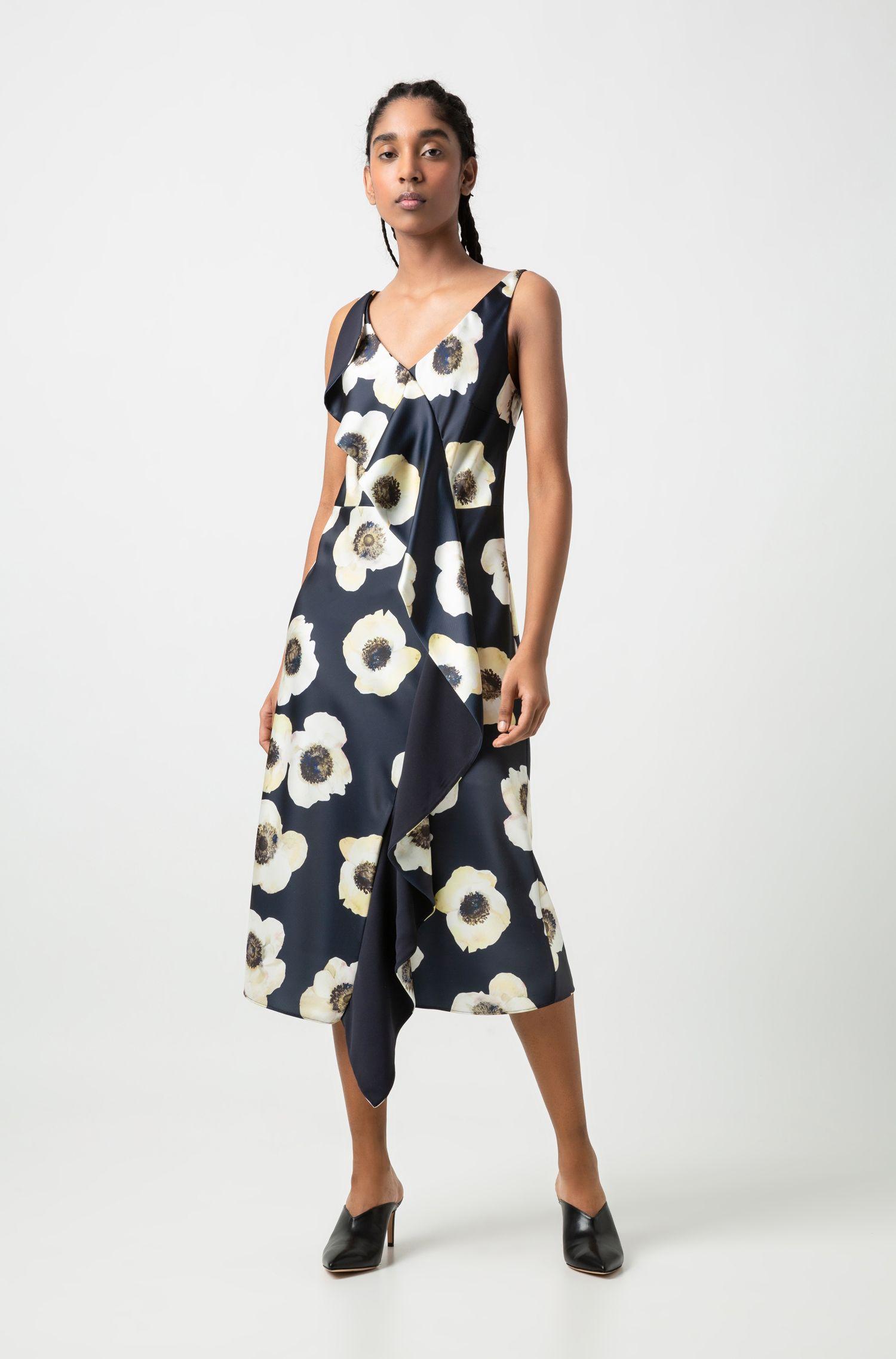 Ärmelloses Kleid mit großem Blumenprint und Volant, Gemustert