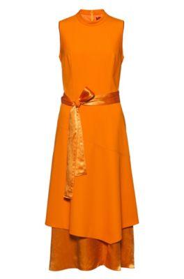 Robe mi-longue sans manches à jupe double épaisseur, Orange