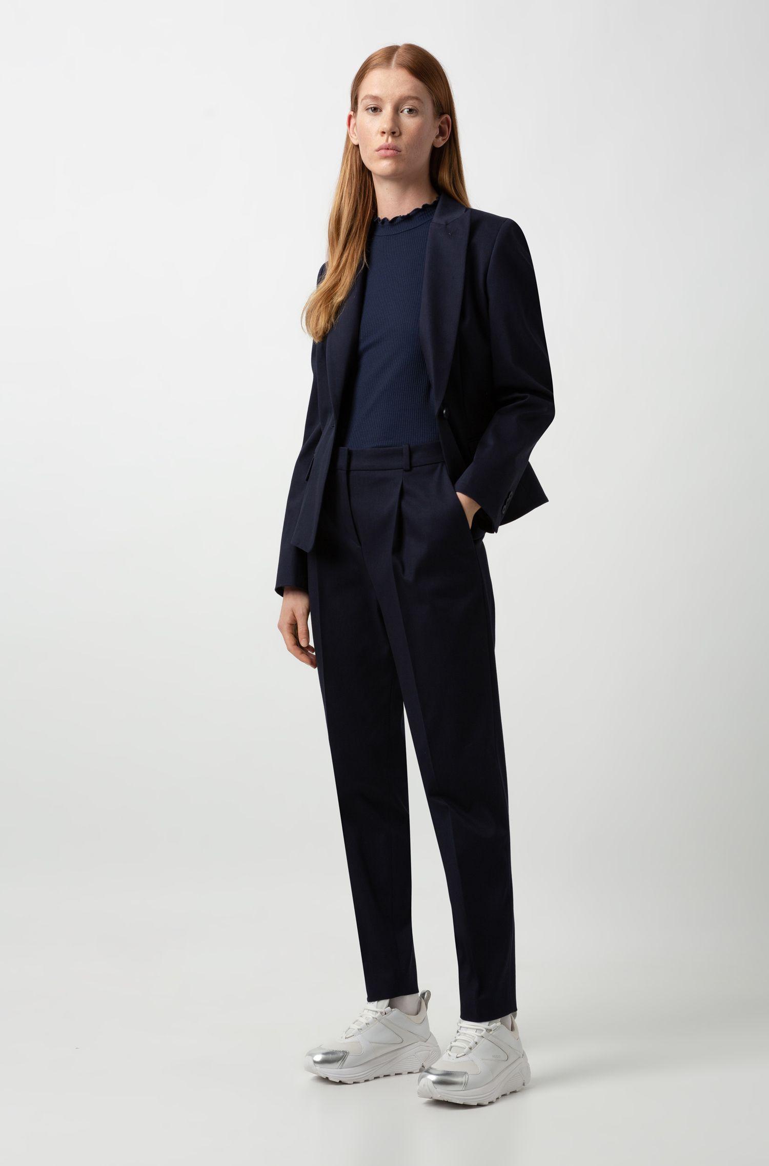 Veste courte Regular Fit en coton stretch, Bleu foncé