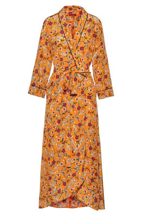 Floral-print wrap dress with contrast piping in silky fabric, Patterned