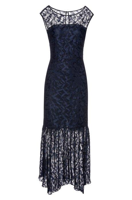 Robe longue en dentelle à jupe plissée, Bleu foncé