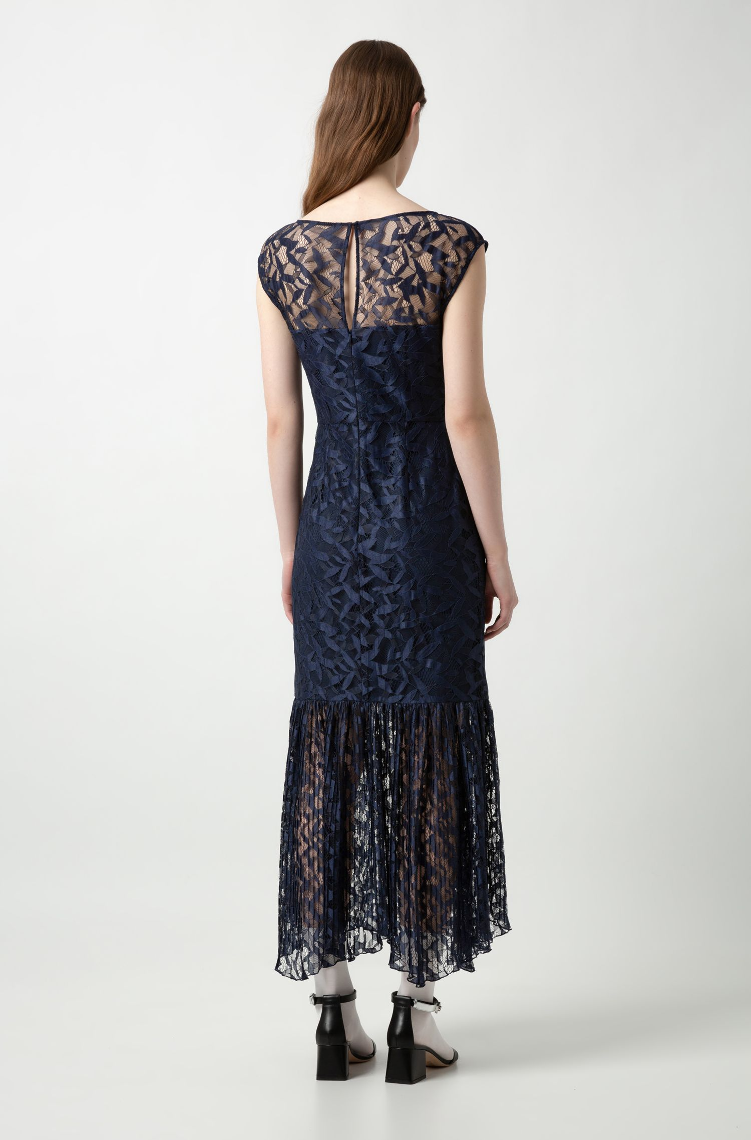 Kanten maxi-jurk met deels geplisseerde rok, Donkerblauw