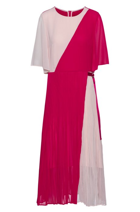 Colour-block dress with plissé skirt and transparent sleeves, Pink