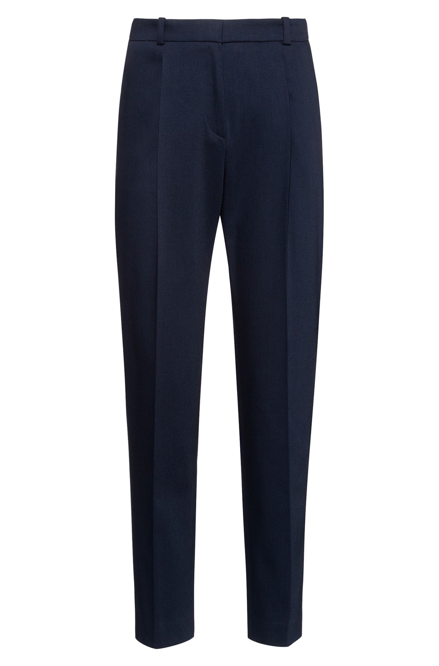 Pantalon Regular Fit en coton stretch structuré, Bleu foncé