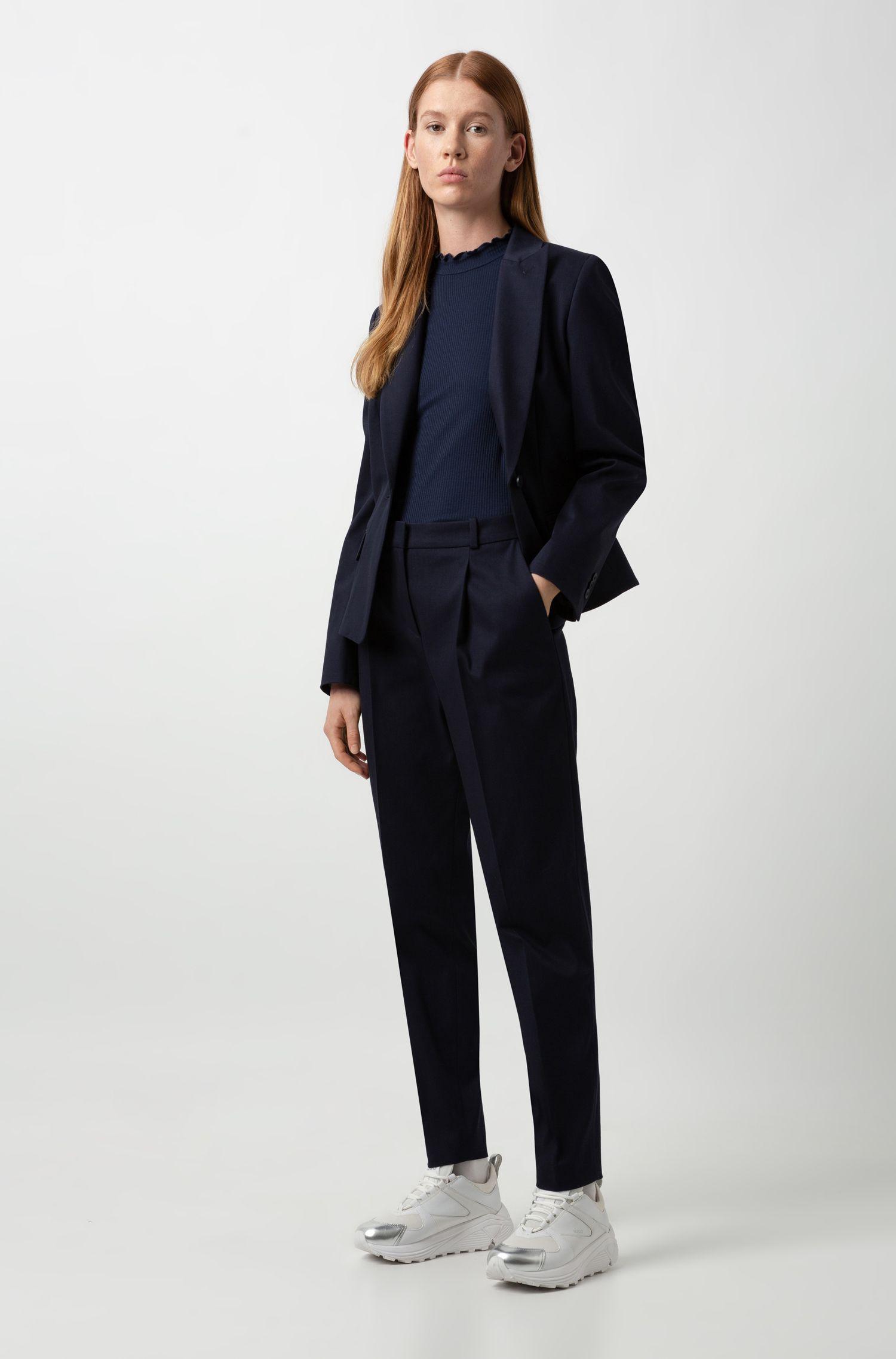 Regular-fit trousers in structured stretch cotton, Dark Blue