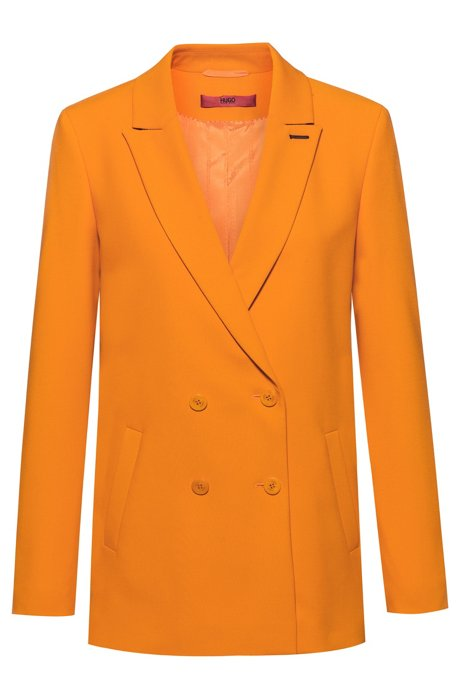 Regular-fit double-breasted jacket with contrast buttonhole, Orange