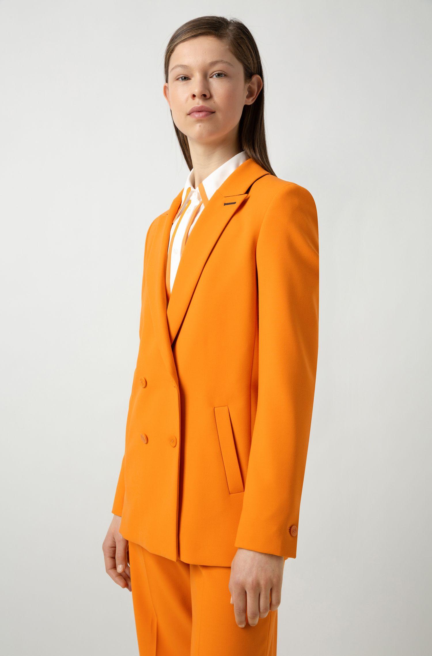 Regular-Fit Zweireiher mit kontrastfarbenem Knopfloch, Orange