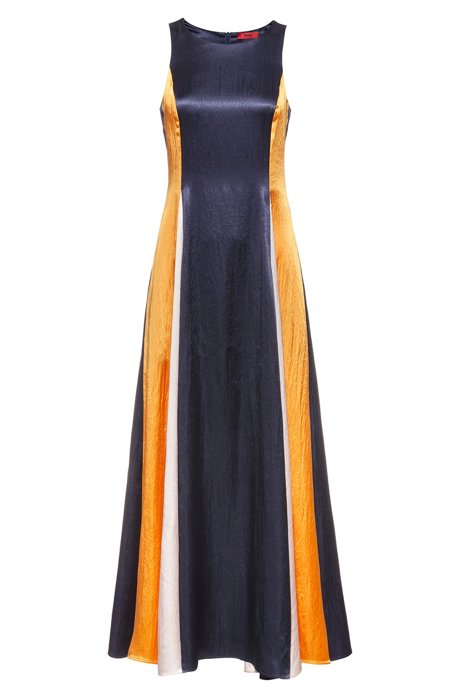 Sleeveless colour-block maxi dress in lustrous fabric, Dark Blue