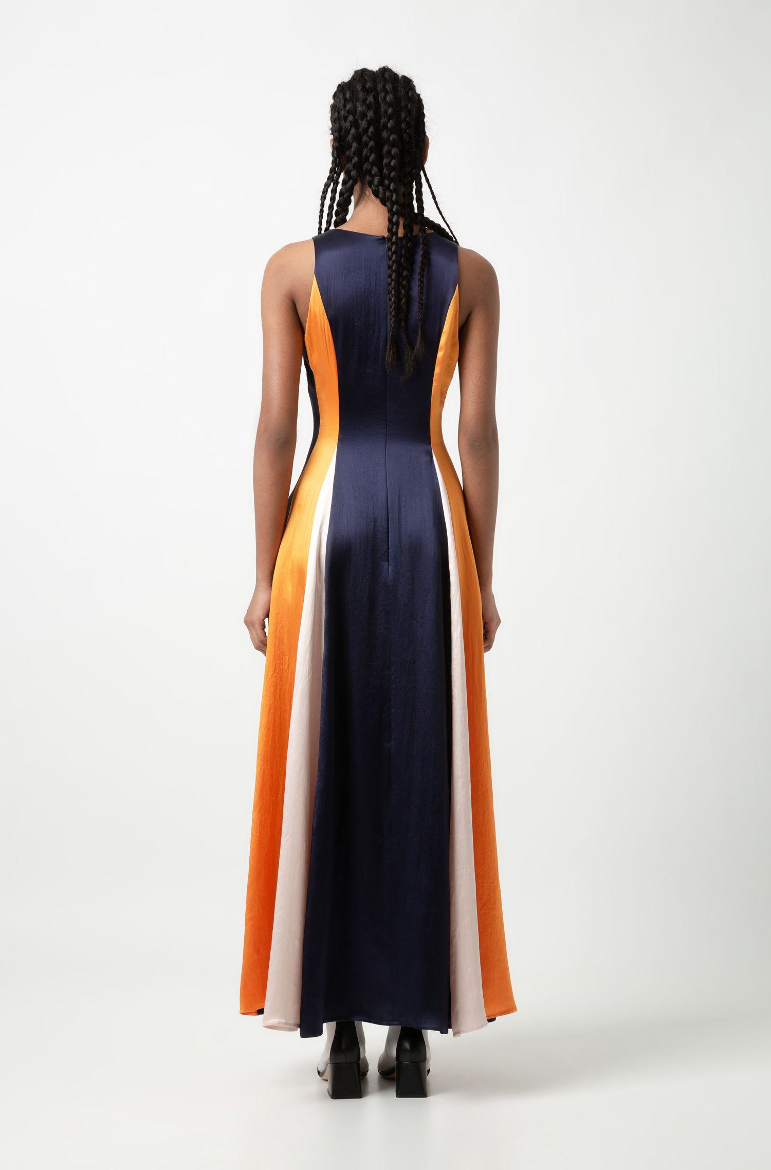 Robe longue color block sans manches en tissu brillant, Bleu foncé