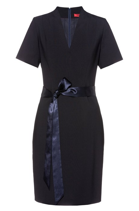 Kleid aus knitterfreier Stretch-Schurwolle mit V-Ausschnitt, Dunkelblau