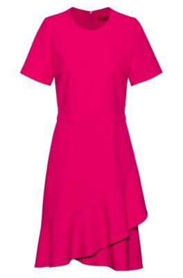 Short-sleeved dress with asymmetric hemline and side pocket , Pink