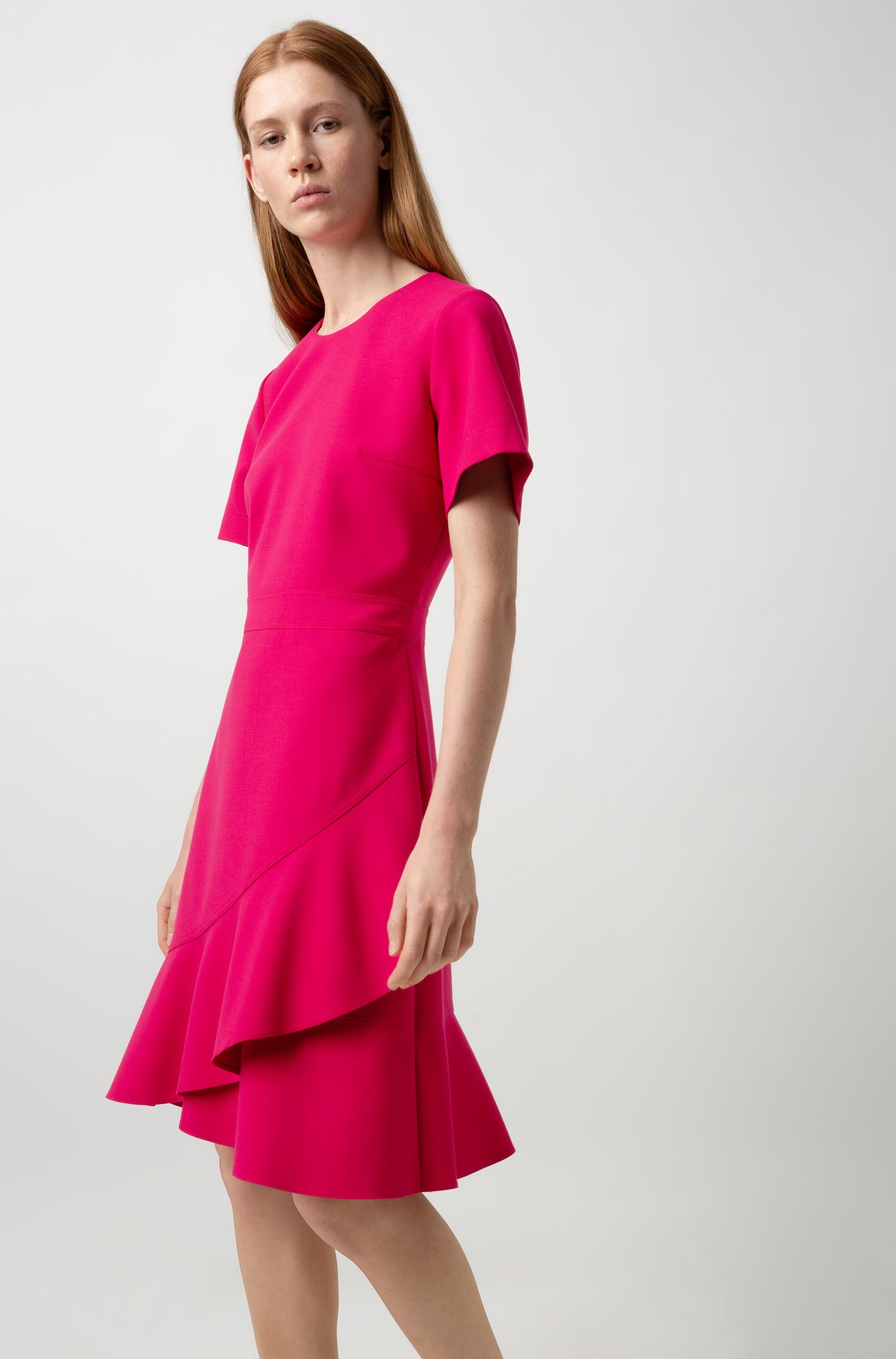 Short-sleeved dress with asymmetric hemline and side pocket , Pink