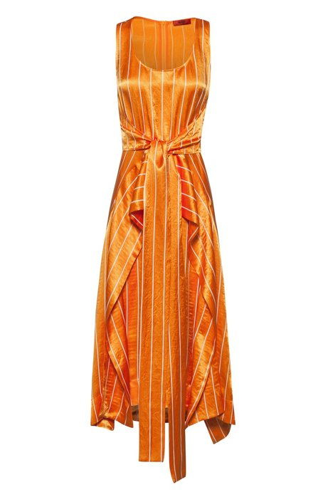 Striped midi dress with tie waist and volant overlay, Patterned