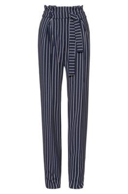 Relaxed-fit broek met geplooide voorkant en strikceintuur, Bedrukt