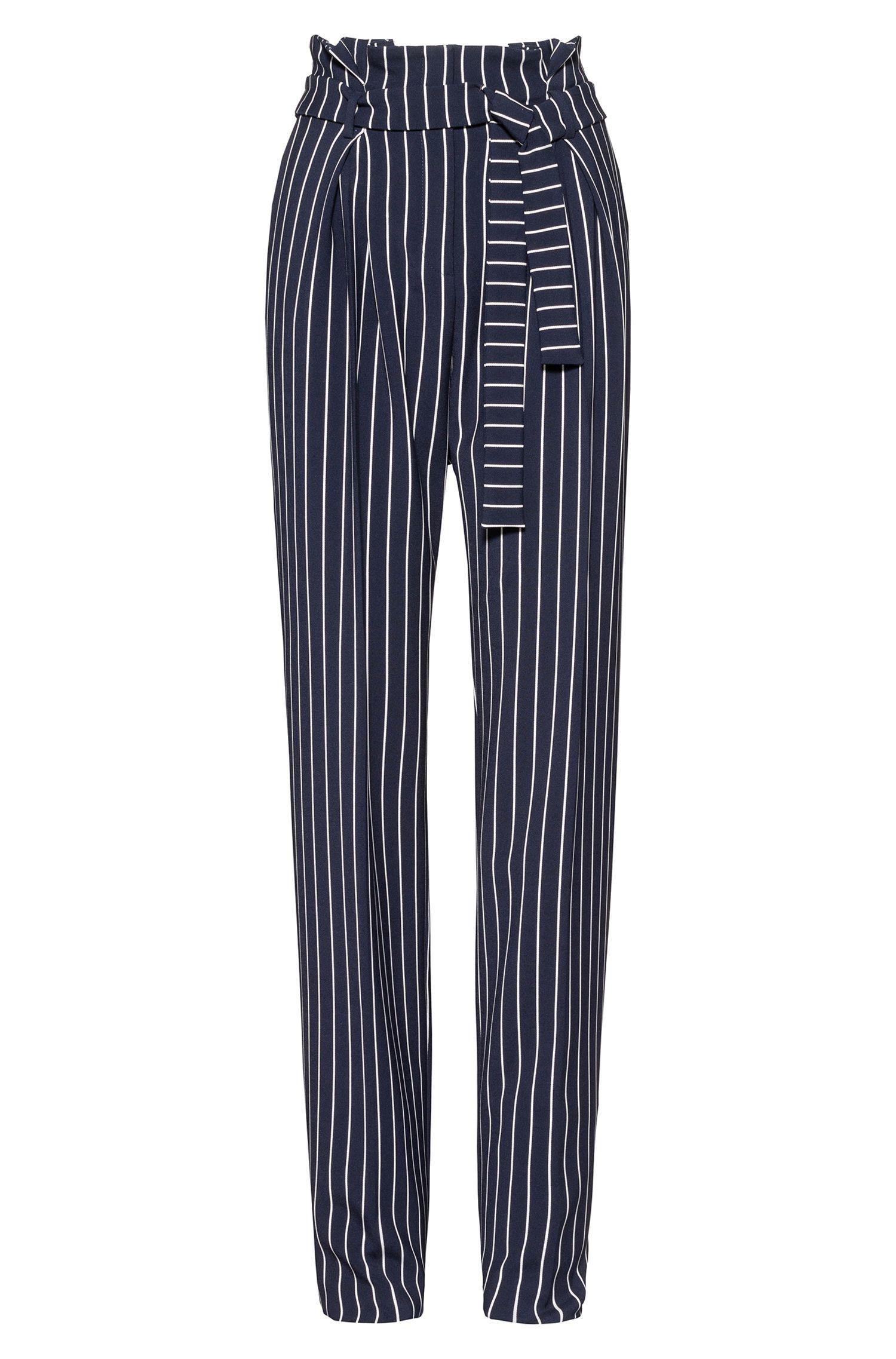 Pantalon Relaxed Fit avec plis sur le devant et ceinture à nouer, Fantaisie