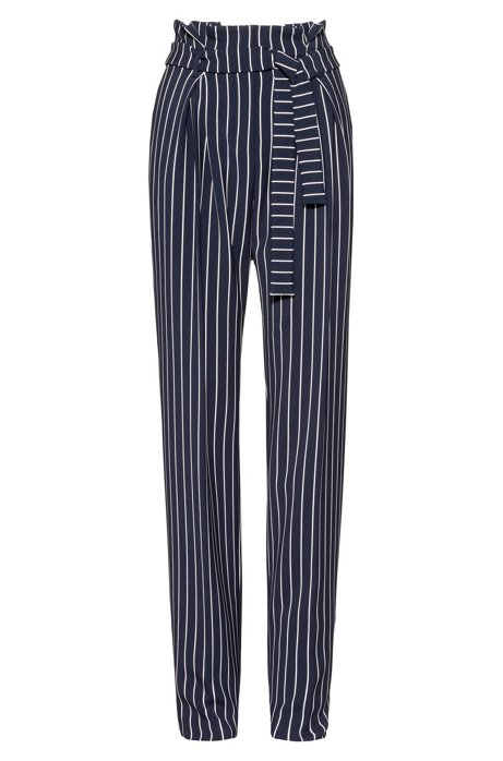 Relaxed-fit trousers with pleated front and tie belt, Patterned