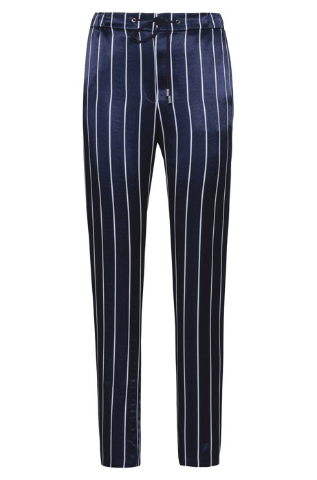 Pantaloni a righe regular fit con vita con coulisse, A disegni