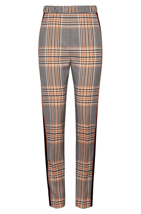 High-waisted regular-fit trousers in Glen-check fabric, Patterned