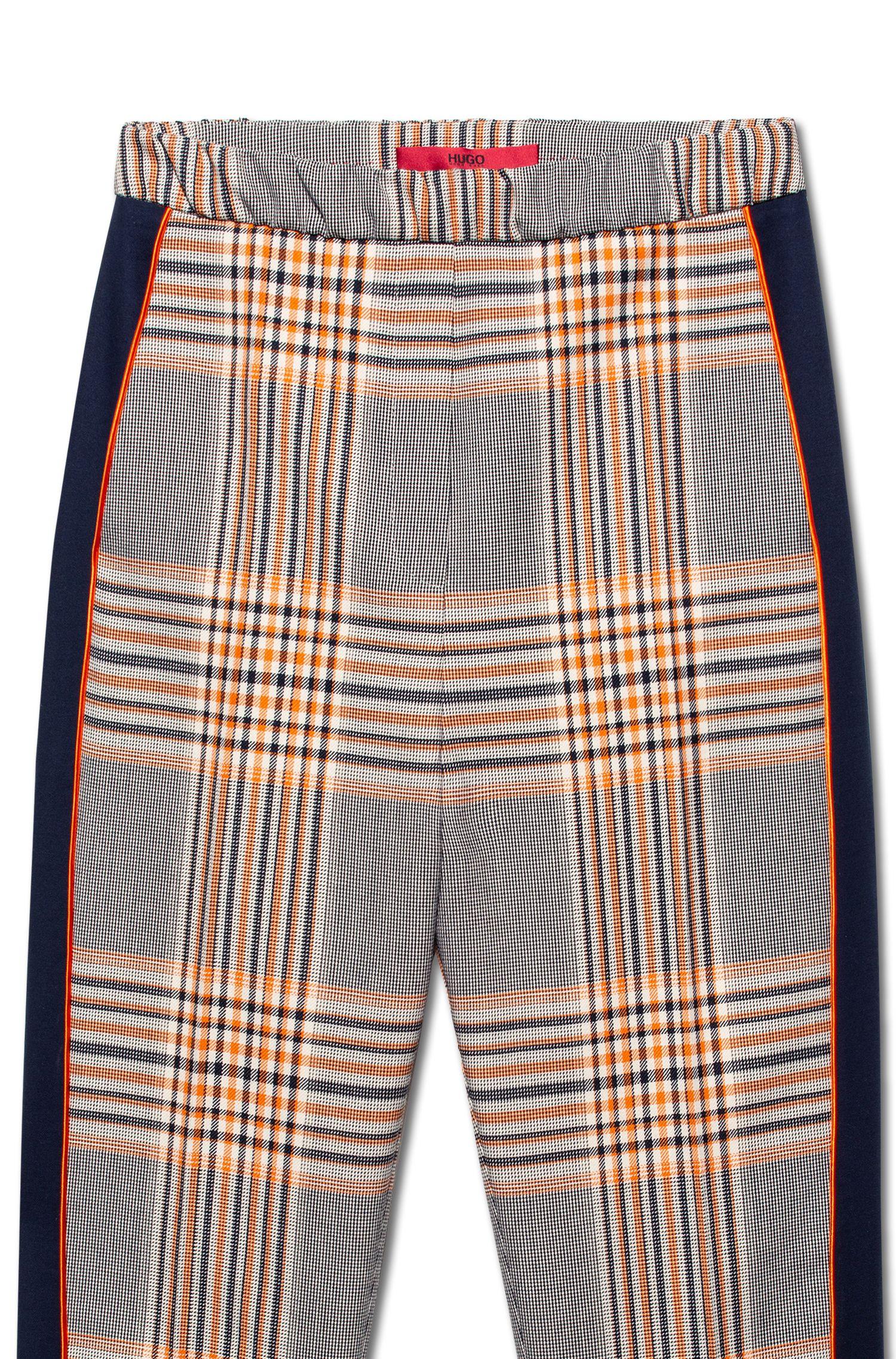 Regular-Fit Hose mit hohem Bund und Glencheck-Muster, Gemustert