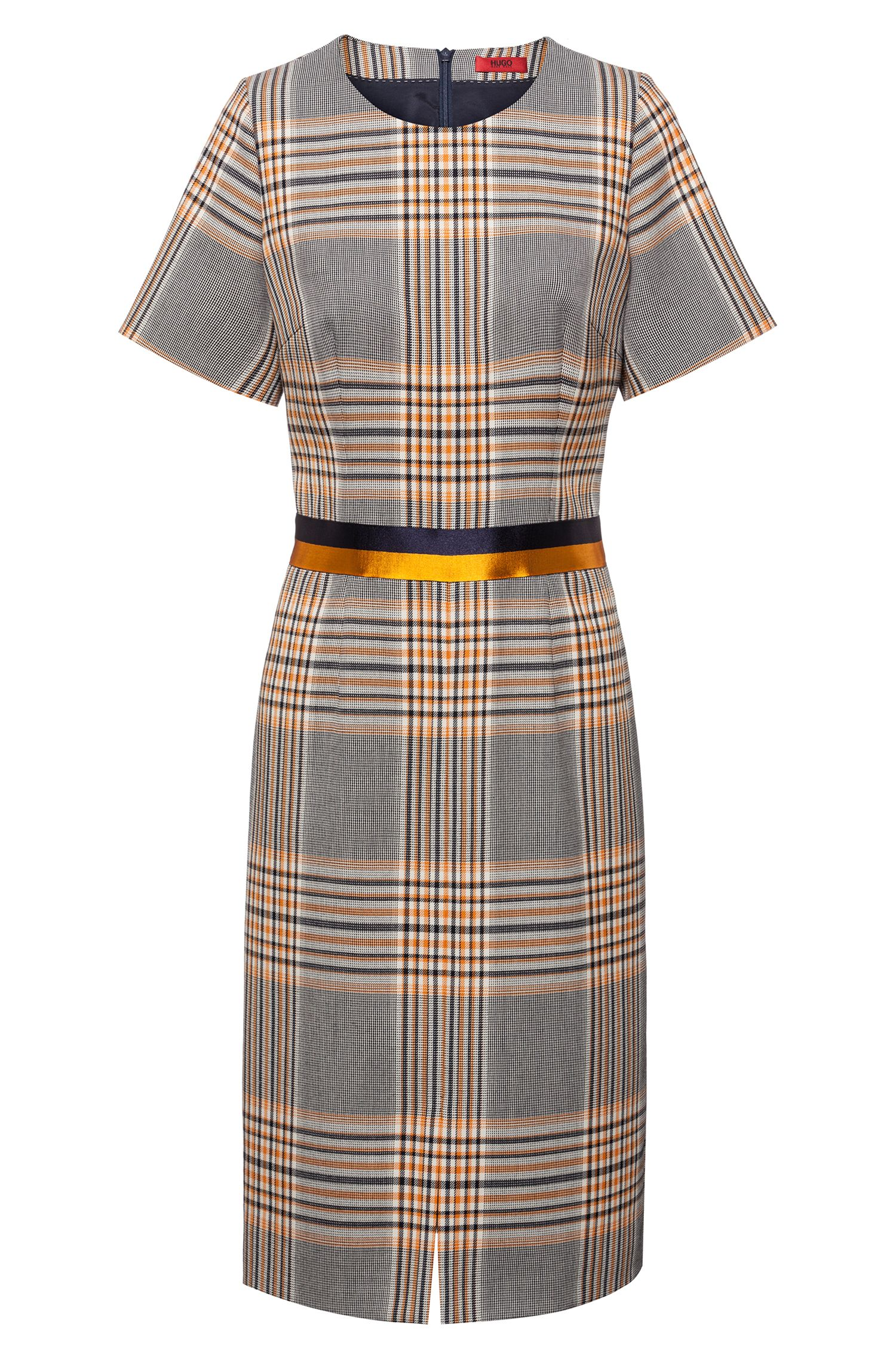 Short-sleeved checked dress with two-tone waistband, Patterned