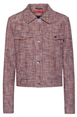 Cropped jacket in a cotton blend with chest pockets, Patterned