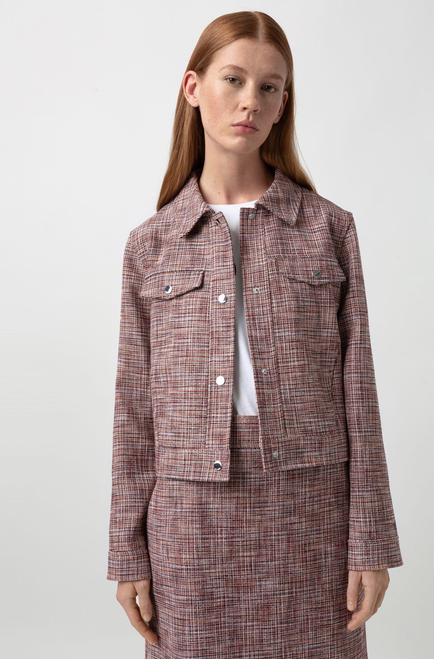 Veste courte en coton mélangé à poches-poitrine, Fantaisie