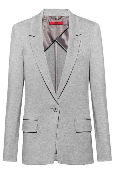 Langer Regular-Fit Blazer aus schwerem Jersey, Grau