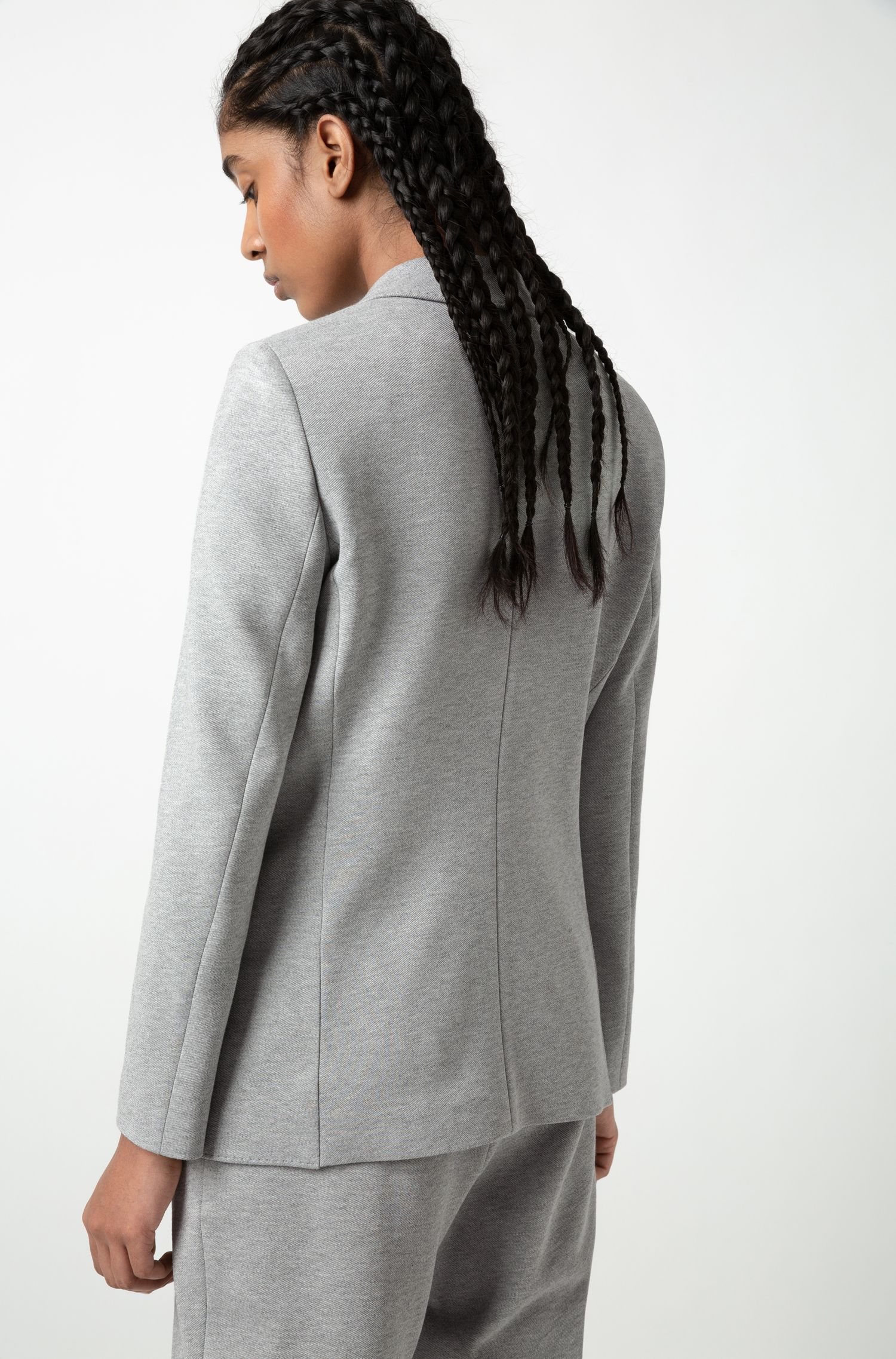 Long-length regular-fit jacket in heavyweight jersey, Grey