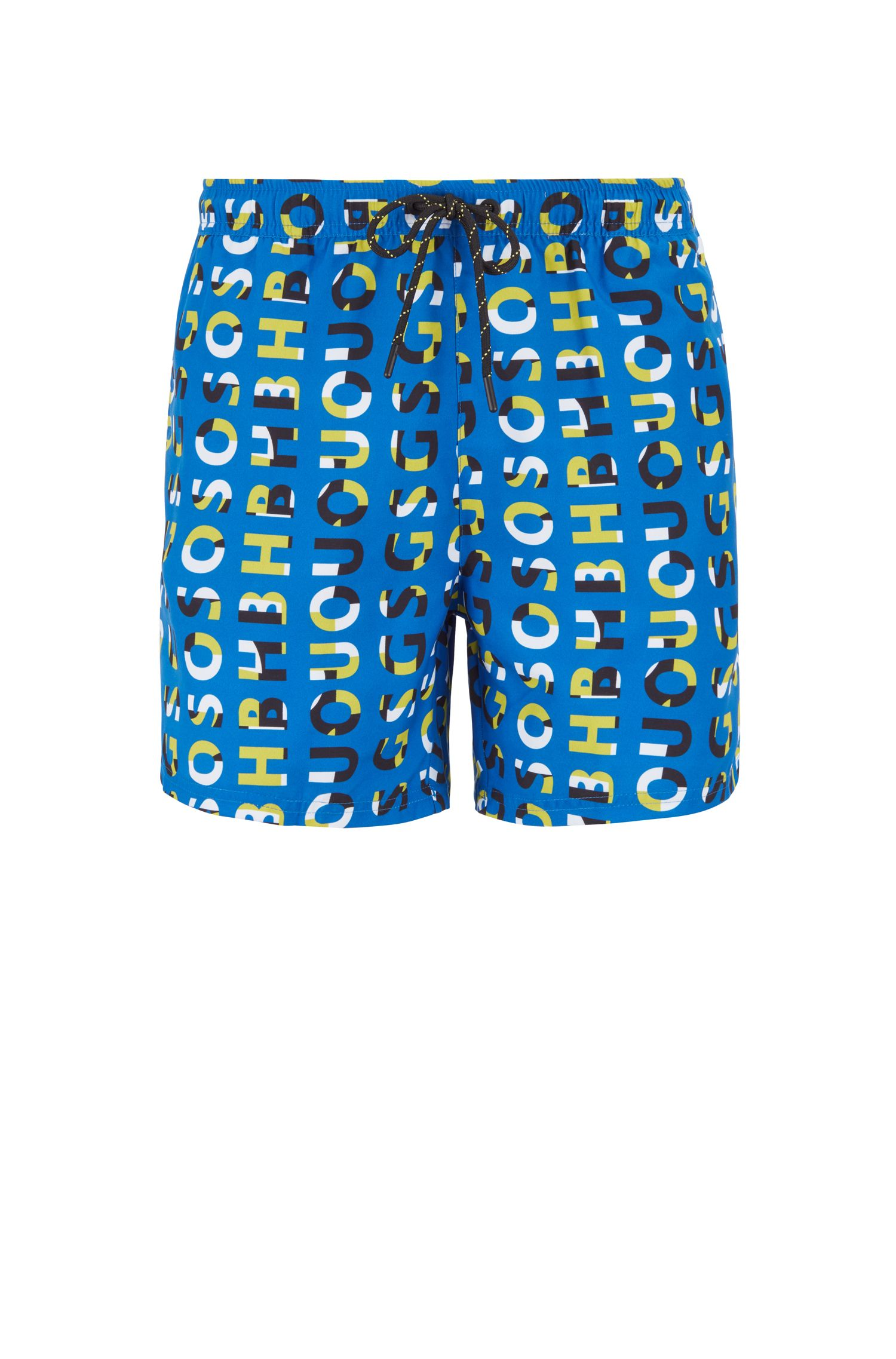Quick-dry swim shorts with all-over logo print, Dark Blue