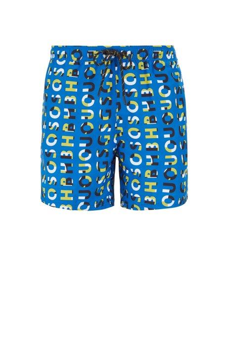 Sneldrogende zwemshort met all-over-logoprint, Donkerblauw